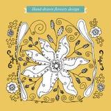 Hand-drawn bloemrijk ontwerp Stock Afbeelding