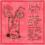 Hand drawn Bloody Mary cocktail. Illustration with hand drawn sketch Bloody Mary cocktail. Including recipe and ingredients on the grunge vintage background Royalty Free Stock Photography