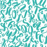 Hand drawn blue alphabet letters seamless pattern. Ink sketch texture and background. Royalty Free Stock Images