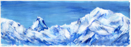 Hand drawn blue Alps. The Alpine mountain chain on the background of blue sky storm. Acrylic paint on paper Stock Images