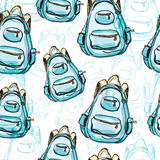Hand drawn blue backpack seamless pattern. Royalty Free Stock Images