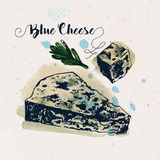 Hand drawn blue cheese and oregano leaves Stock Photography