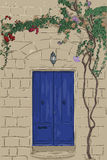 Hand drawn blue door with lamp. Climbing tree on wall. Hand drawn blue door with lamp. Stone wall with climbing tree. Home stone porch EPS10 Royalty Free Stock Image