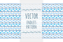 Hand drawn blue ethnic endless vector pattern. Hand drawn blue vector pattern for decoration Stock Images