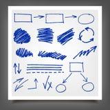 Hand drawn blue gold design elements. Stock Photo