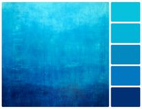 Hand drawn blue gradient background on wall with palette color s Stock Images