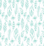 Hand drawn blue leathers seamless pattern Stock Photos