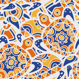 Hand drawn blue and orange seamless pattern. Vector ethnic backg Royalty Free Stock Image