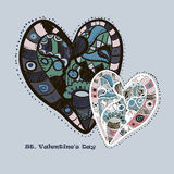 Hand drawn blue and pink hearts Stock Images