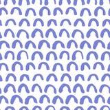 Hand drawn blue semicircles pattern stock illustration
