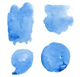 Hand drawn blue splashes watercolor set, dot and comma blue watercolor. Elements design. Decoration element. White background. Transparent background. Blue Royalty Free Stock Photography