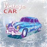 Hand drawn blue vintage car on grunge background. vector illustration Royalty Free Stock Photo