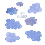 Hand drawn blue watercolor cloud Royalty Free Stock Photography