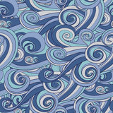 Hand drawn blue wave pattern Stock Photography