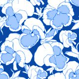 Hand drawn blue and white viola flowers on a dark blue background. Seamless pattern for fabric, wallpaper and textile stock illustration