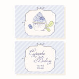 Hand drawn blueberry cupcake business cards Stock Photos