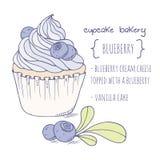 Hand drawn blueberry cupcake Stock Image