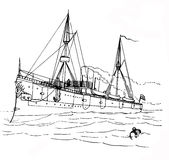 Hand Drawn Boat Stock Image