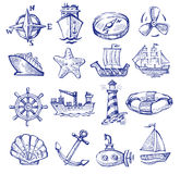 Hand drawn boat and ship Stock Images