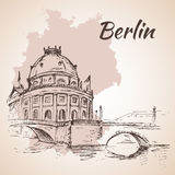 Hand drawn Bode Museum - Berlin, Germany royalty free illustration