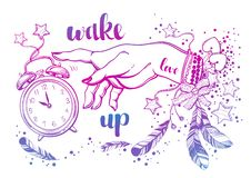 Hand drawn bohemian girls hand with amulets, magical alarm clock and feathers. Boho chic style, boho girl. High detailed vector. vector illustration