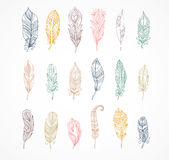 Hand drawn bohemian, tribal, ethnic feathers. Colorful set Stock Photos