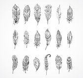 Hand drawn bohemian, tribal, ethnic set of feathers Royalty Free Stock Photo