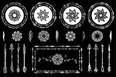 Hand drawn boho design elements stock illustration