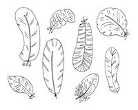 Hand drawn boho feathers set. Design elements collection. Vector illustration. Royalty Free Stock Photography