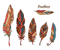 Hand drawn boho feathers vector collection. Set of doodle ethnic color feathers. Cute zentangle feather