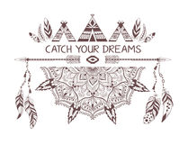 Hand drawn boho style design with mandala, arrow and feathers. Stock Photos