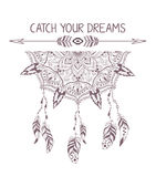 Hand drawn boho style design with mandala, arrow and feathers. Stock Photography
