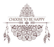Hand drawn boho style design with mandala, arrow and feathers. Royalty Free Stock Photos