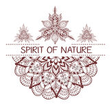 Hand drawn boho style design with mandala, arrow and feathers. Stock Images