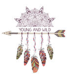 Hand drawn boho style design with mandala, arrow and feathers. Royalty Free Stock Photography