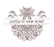 Hand drawn boho style design with mandala, lotus flower, arrow and feathers. Royalty Free Stock Photos