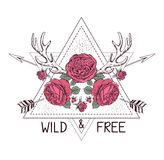 Hand drawn boho style design with rose flower, arrow and deer antlers. vector illustration