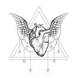 Hand drawn boho tattoo. Blackwork heart with wings. Hand drawn boho tattoo. Blackwork human heart with wings in hipster triangle frame. Vector illustration Royalty Free Stock Photos