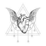 Hand drawn boho tattoo. Blackwork heart with wings Royalty Free Stock Photos