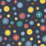 Hand drawn bright bohemian Christmas snowflakes vector seamless pattern background. Winter Holiday Handcrafted Print vector illustration