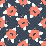 Hand drawn bold coral spring flower blooms on polka dot. Seamless vector pattern. Trendy stylish floral. All over print illustration for fashion textile, gift stock illustration