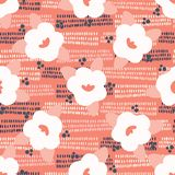 Hand drawn bold coral white spring flower blooms. Seamless vector pattern. Trendy stylish floral doodle scribble. All over print illustration for fashion vector illustration