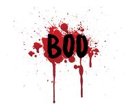 Hand drawn boo bloody lettering. Dripping blood or red brush stroke. stock illustration