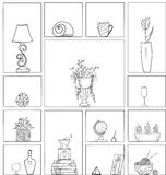 Hand drawn book shelves seamless pattern background black white outline. Objects collection Stock Photos