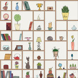 Hand drawn book shelves seamless pattern background. Colorful objects collection Stock Image