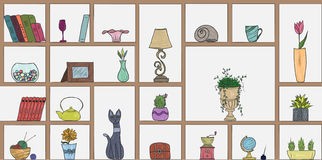 Hand drawn book shelves seamless pattern background. Colorful objects collection Royalty Free Stock Photos