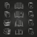 Hand drawn books icons on chalkboard design stock illustration