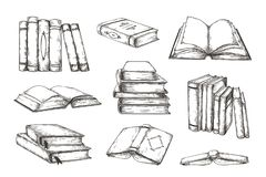 Free Hand Drawn Books. Retro Engraved Pile And Stack Of Different Books, Educational Illustration For Story Or Novel. Vector Stock Images - 160993034