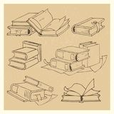 Hand drawn books sketch grunge icons set vector illustration