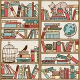 Hand drawn bookshelf with sleeping cat & birdcage Stock Photography